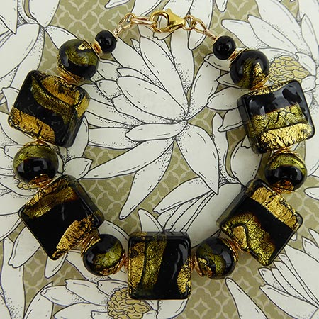 Black and Gray Sole Murano Glass Bracelet