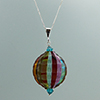 Blown  Sculpted Rainbow Bead Pendant Necklace