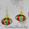 Murano Glass Red and Green Earrings