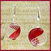 Red and White Filigrana Blown Murano Glass Earrings