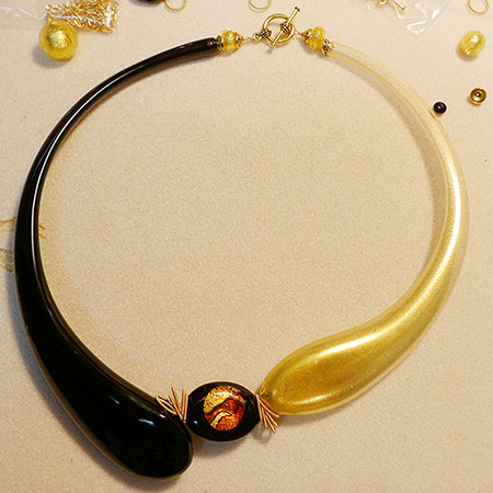 Free Design Venetian Bead Shop Boro Curved Tubes Necklace