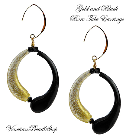 Black and Gold Foil Boro Curved Tubes Earrings