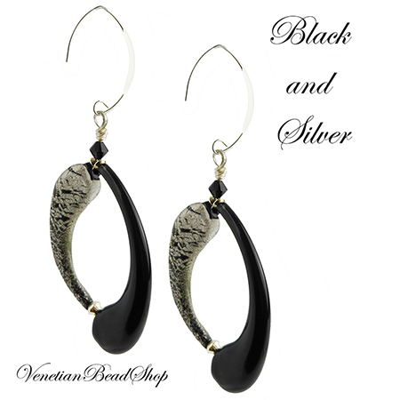 Black and Silver Boro Tube Earrings Free Design