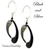 Boro Black and Silver Tube Earrings