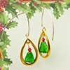 Gold and Green Tree Earrings