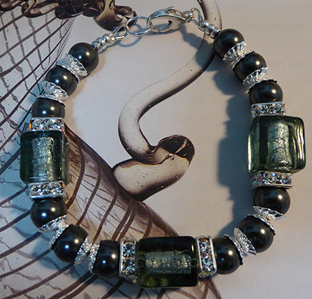 Charcoal Gray Murano Glass Cubes Bracelet