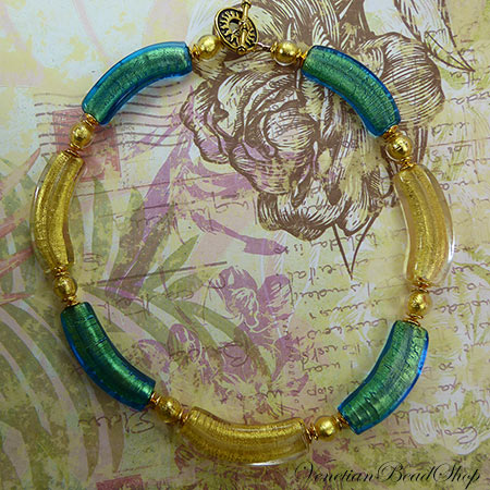 Aqua and Gold Foil Curved Tube Necklace Design