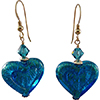 Aqua 24kt Gold Foil Double Heart Earrings