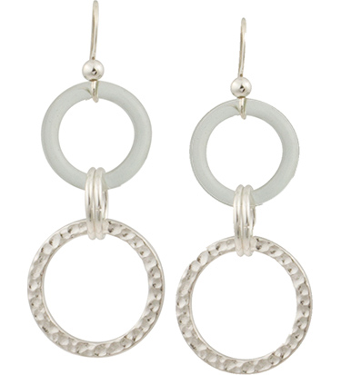 Double Circles Glass & Metal Earrings