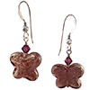 Amethyst Murano Glass Butterfly Earrings