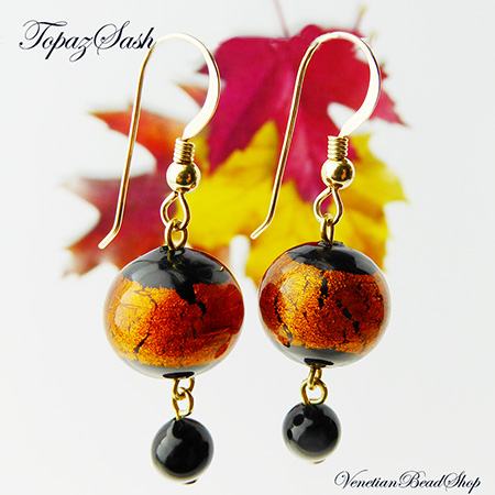 Fall Black and Topaz Sash Earrings, Free Design