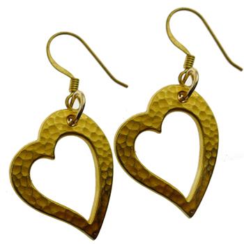 Gold Hammered Heart Earrings