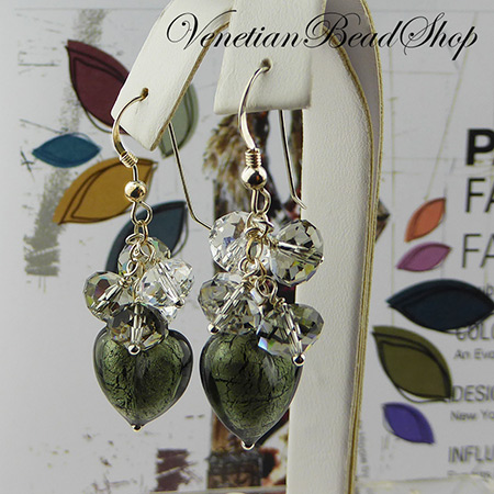 Murano Glass Heats and Swarovski Earrings