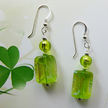Spring Green Dichroic Rectangle Earrings Free Design