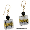 Black and White Lace Millefiori Square Earrings