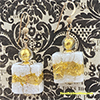 White Lace Millefiori Square Earrings