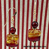 Topaz an Red Square Earrings
