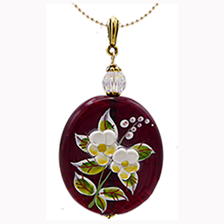 Red Porcelain Flowers Pendant Necklace