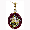 Ruby Murano Glass with Porcelain Flowers Pendant on 18 Inch Gold Fill Chain