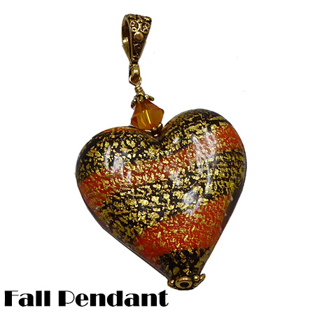 Ca'd'Oro Orange and Black Heart Pendant