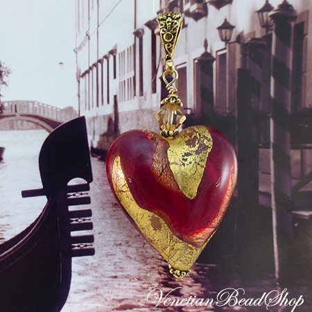 Red and Gold Dorato Heart Pendant