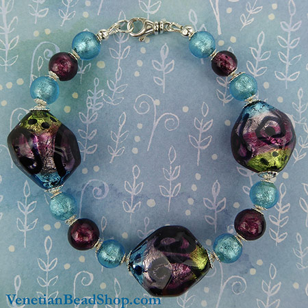 Free Bracelet Design Picasso Purple, Aqua and Green
