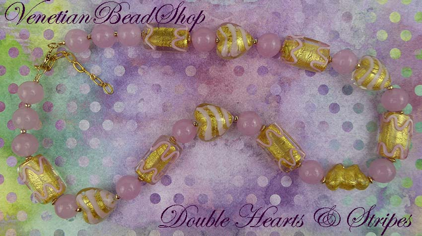 Double Hearts and Pink Stripes Necklace Free Design
