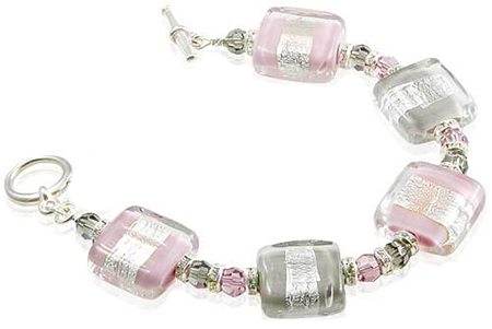 Pink and Gray Murano Glass Rectangles Bracelet