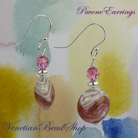 Pink Pavone Earrings