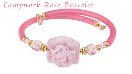 Pink Lampwork Rose Bracelet