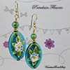Aqua Porcelain Flower Earrings
