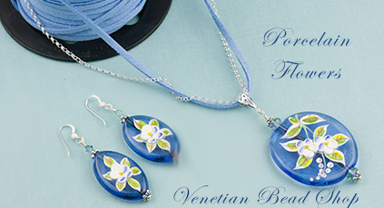 Matching Jewelry Designs Porcelain Flowers Murano Glass Beads