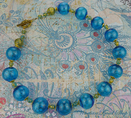 Timeless Venetian Glass Necklace, Blown Ca'd'oro