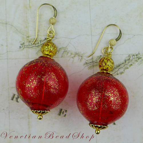 Authentic Murano Glass Blown Bead Earrings