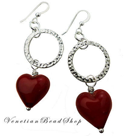 Red Hearts Circle Earrings