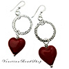 Red Heart Round Circle Earrings