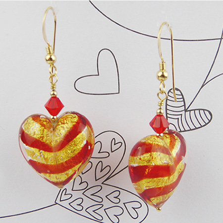 Red Tigrato and Gold Foil Heart Earrings