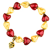 Red and Gold Hearts in a Circle Bracelet