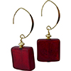 Red Gold Square with V Earrings