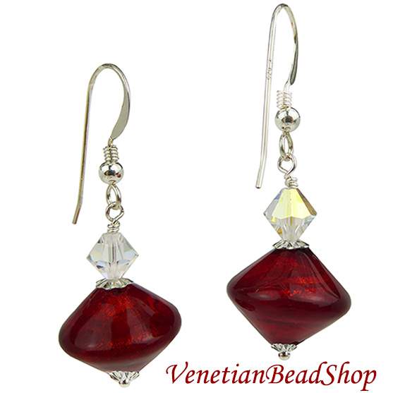 Red Authentic Murano Glass Bicone Earrings Free Design