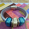 Aqua & White Gold Regaliz® Leather Bracelet Design