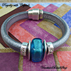 Aqua & Crystals Regaliz® Leather Bracelet Design