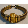 Regaliz® Leather Bracelet with Gold Foil Murano Glass