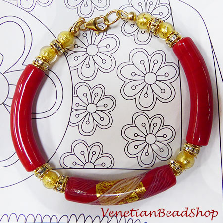 Murano Glass Reticello and Gold Curved Tube Bracelet
