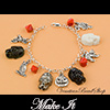 Halloween Bracelet Skulls, Cats and Pumpkins
