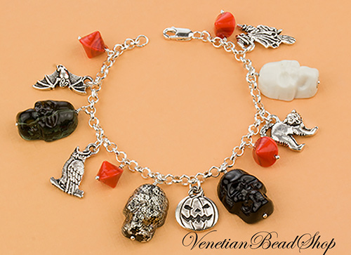 Halloween Skulls and Charms Bracelet