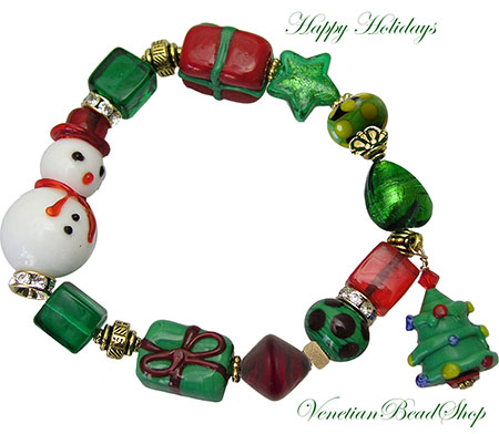 Snowman, Gift and Christmas Tree Bracelet