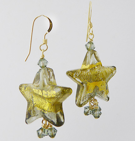 Serale Twilight Gold Foil Star Earrings in Gray