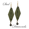 Steel Diamond Dangling Earrings