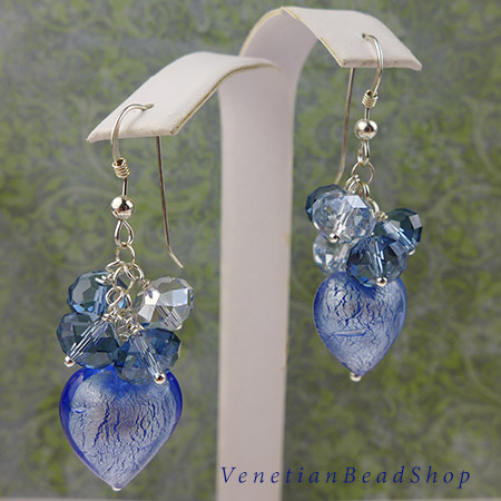 Swarovski Crystal Rondels and Authentic Venetian Bead Earring Design